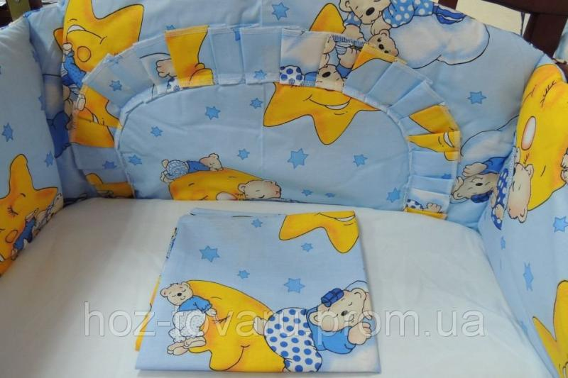 Комплект постельного белья в детскую кроватку 4 в 1 (без балдахина)