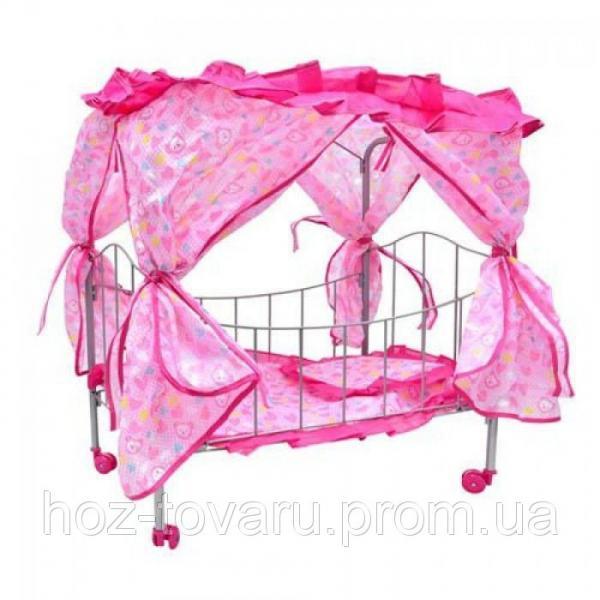 Кроватка для кукол железная на колесиках с балдахином Melogo M 0476