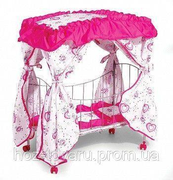 Кроватка металлическая 9350 / 015 с балдахином для кукол на колесиках