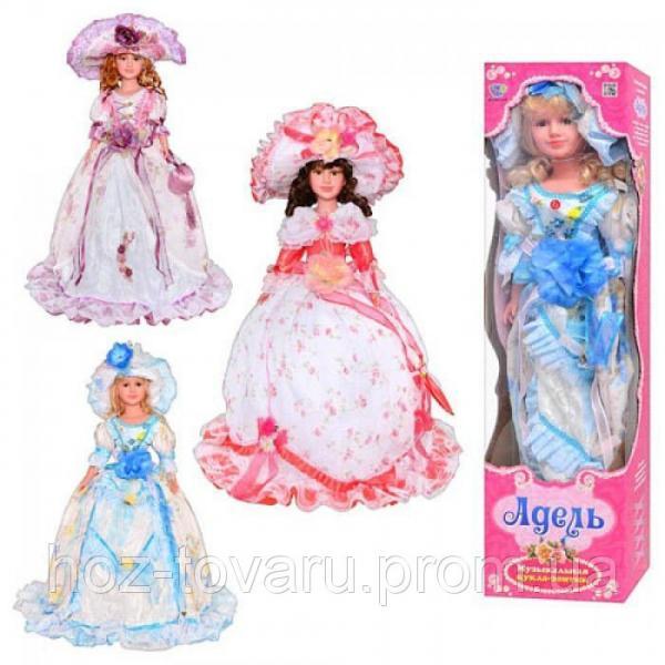 Кукла M 1251 U/R Адель, 3 вида, кукла-зонтик, шляпа, музыка