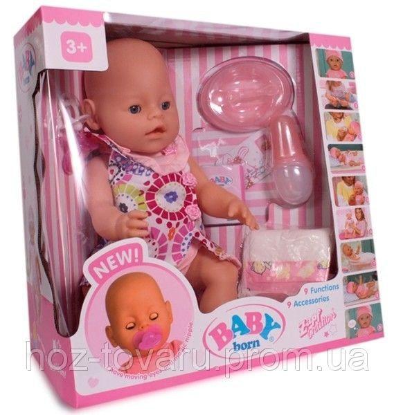 Кукла-пупс Baby Born (копия), девочка, платье в цветочек, полный к-т. BB 8009-438