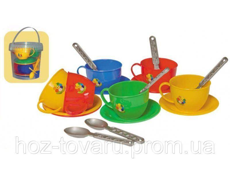 """Набір посуду """"Чайний сервіз ТехноК"""" (у відерку) 0083"""