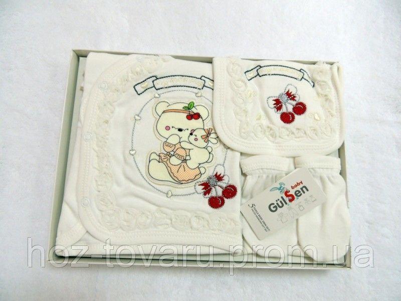 """Набор 5в1 для детей 0-4 месяца """"Вышивка Мишка"""" в коробке, Турция"""