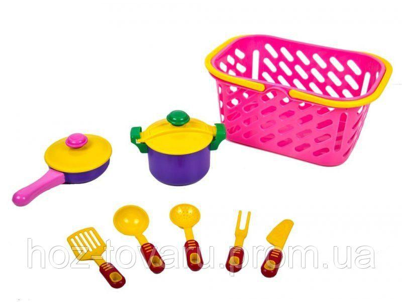 Посуда в корзинке, кастрюля, сковорода 04-435 Киндервей