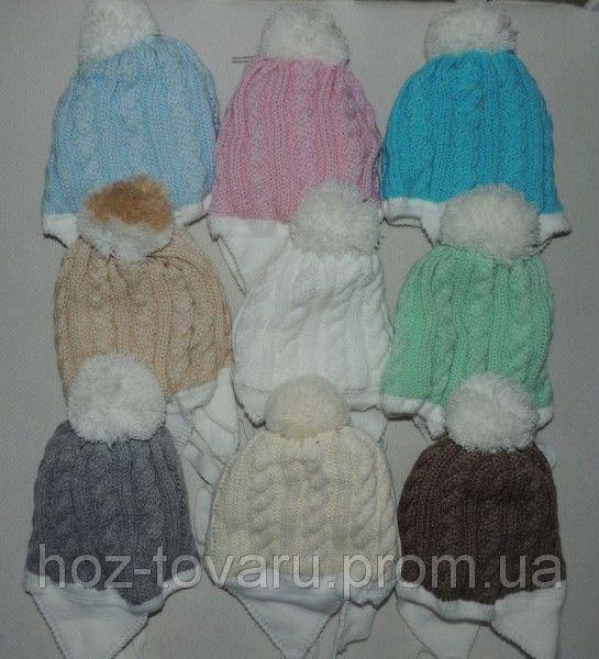 """Чепчик (шапочка) для новорожденного """"вязка косичка"""" на махре с бубоном цвета в ассортименте"""