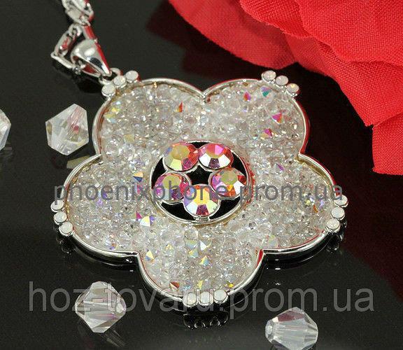 Блистательный кулон с кристаллами Swarovski + цепочка, покрытые платиной(306841)