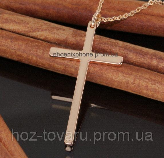 Классический кулон - крестик, покрытый золотом (30279)