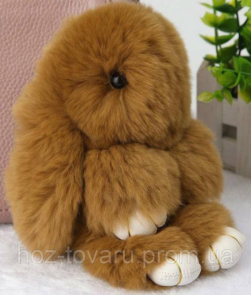 Кролик подвеска из натурального меха (Коричневый)