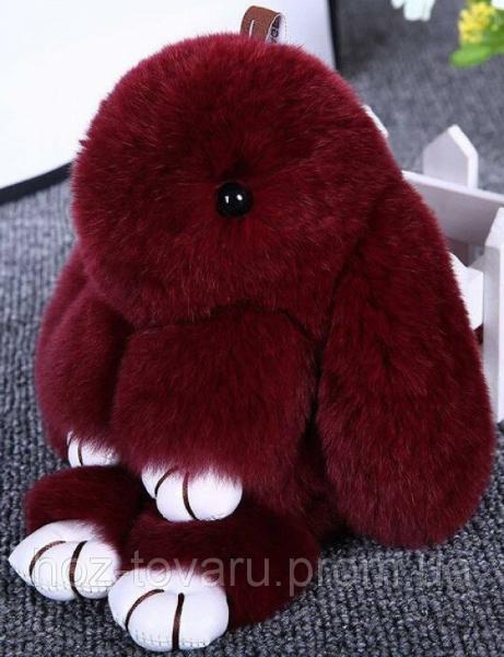 Кролик подвеска из натурального меха (Бордовый)