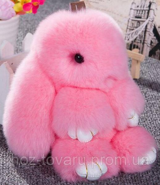 Кролик подвеска из натурального меха (Розовый)
