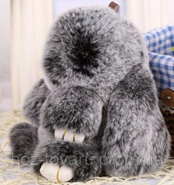 Кролик подвеска из натурального меха (Черный меланж)