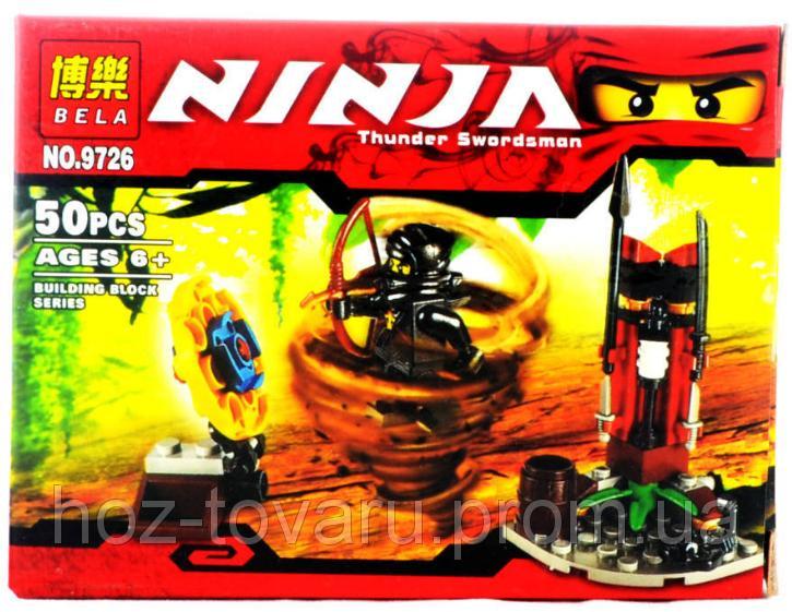 """Конструктор Лего """"Ниндзяго"""", 50 деталей. Bela Ninja Thunder Swordsman: тренировочная застава ниндзя. (9726)"""