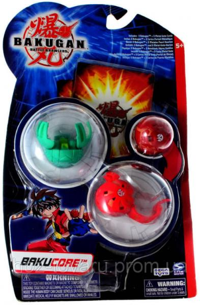 Стартовый набор Bakugan Battle Brawlers Bakucore 3 в 1: бакуганы 3,2 см, 3 карты (61321)