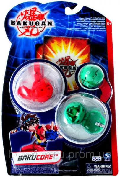 Стартовый набор Bakugan Battle Brawlers Bakucore 3 в 1: бакуганы 3,2 см, 3 карты (61321-2)