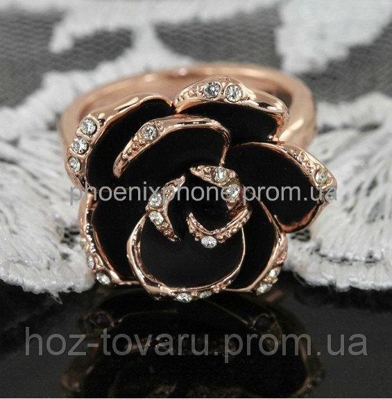 """Кольцо """"Черная роза"""" с кристаллами Swarovski, покрытое слоями золота (102291) 16.5"""