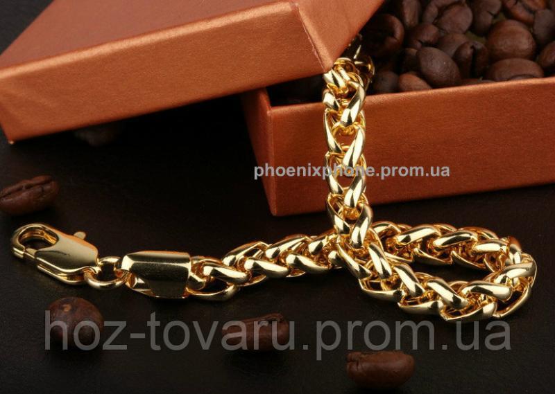 Массивный браслет, покрытый золотом (70205) Длина 220 мм, ширина 7 мм