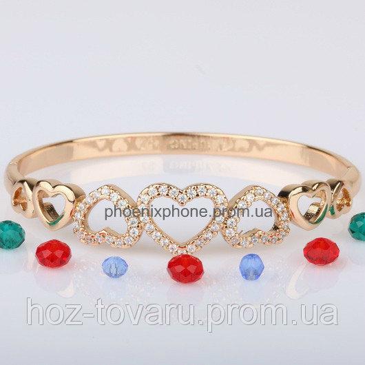Милый браслет с яркими фианитами, покрытый золотом (511390)