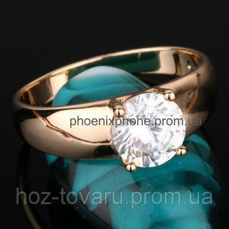 Видное кольцо с фианитами, покрытое золотом (105340)