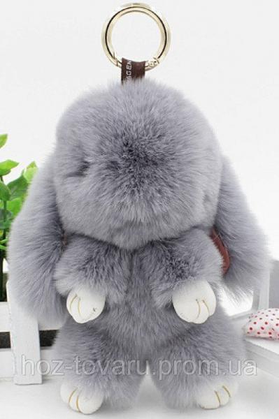 Кролик подвеска из натурального меха (Светло серый)