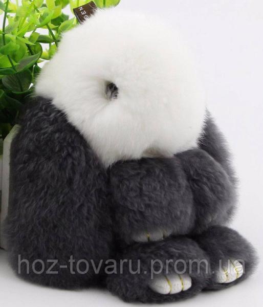 Кролик подвеска из натурального меха (Бело-серый)
