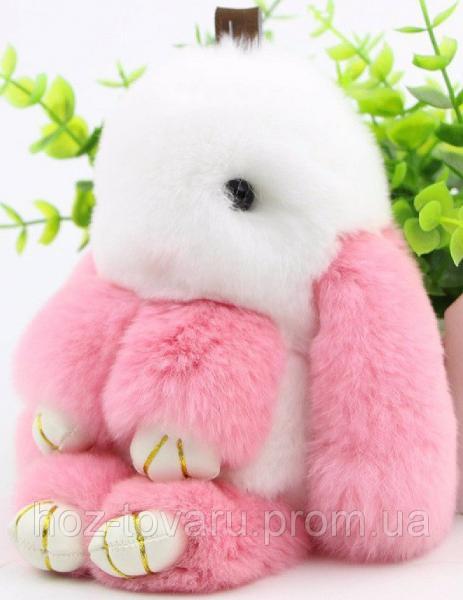 Кролик подвеска из натурального меха (Бело-розовый)