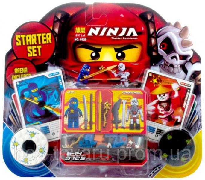 """Конструктор Лего """"Ниндзяго"""" 2 в 1. Набор Starter Set """"Ninja Thunder Swordsman"""" с 2 ниндзя Jay, Frakjaw (9725)"""
