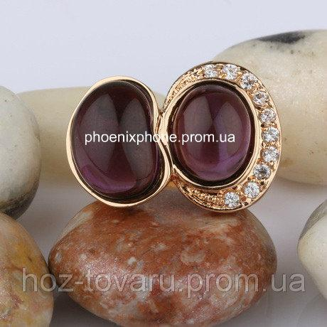 Красивое кольцо с фианитами, покрытое золотом (121451)