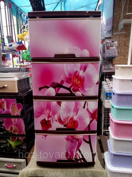 """Комод на 4 ящика с декором """"орхидея""""  Алеана"""