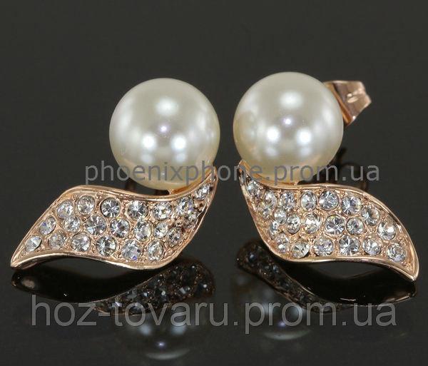 Прелестные серьги с кристаллами Swarovski, жемчугом, покрытые слоями золота (202800)