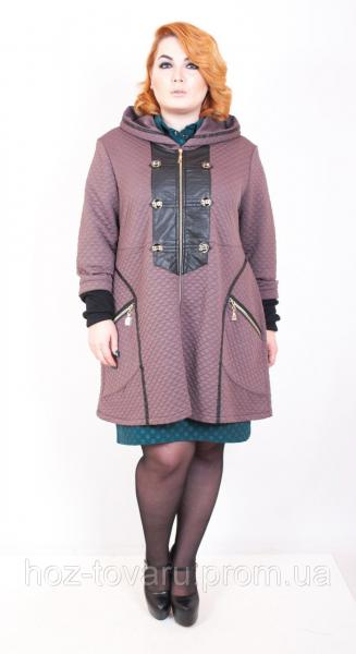 Ветровка женская большого размера Каре (3цвета), трикотажное пальто для полных