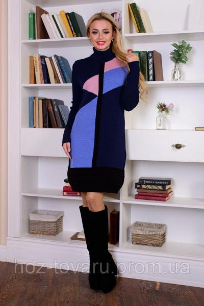 Платье вязаное Геометрия (4 цвета), вязанное платье, теплое платье, дропшиппинг украина