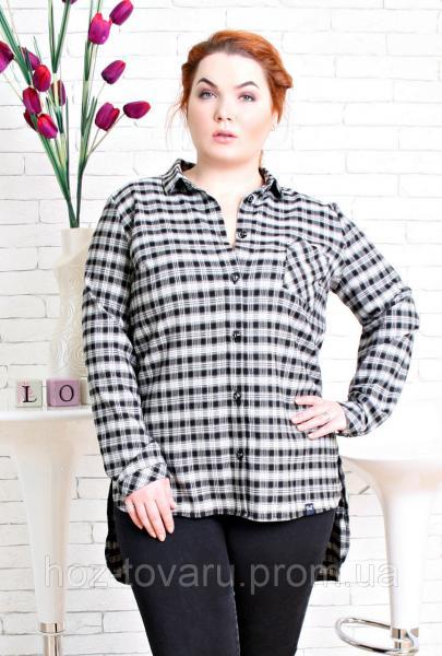 Рубашка женская большого размера Клетка д/р, одежда больших размеров