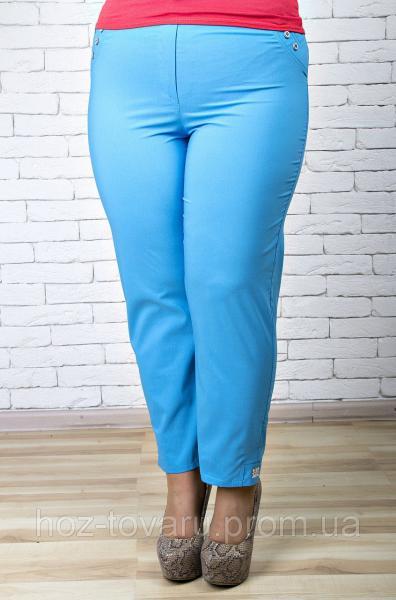 Брюки женские большого размера 7/8 018 голубой, женские летние брюки баталы