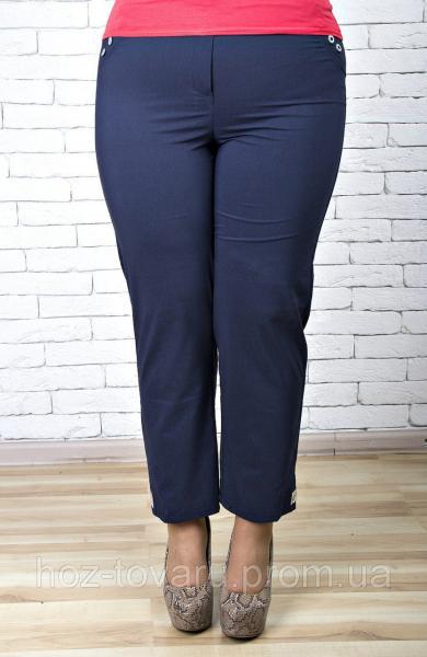 Брюки женские большого размера 7/8 темно-синий, женские летние брюки баталы