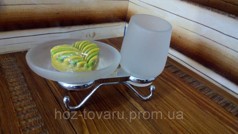 настольный аксессуар стакан и мыльница,полностью нержавейка