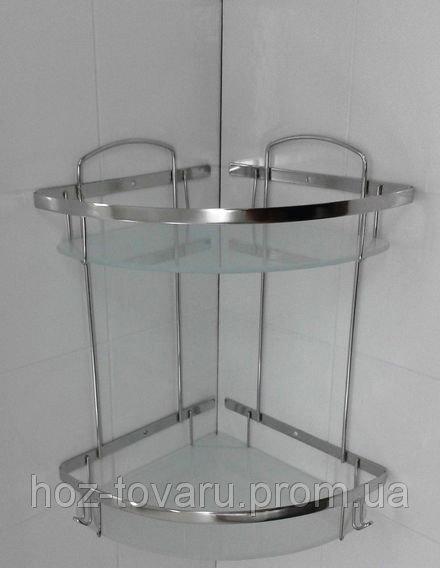 Полка 2-ая нержавеющая угловая со стеклом