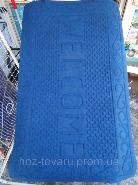 Коврик с ворсой на резиновой основе Welcome 116 см*73 см(синий)