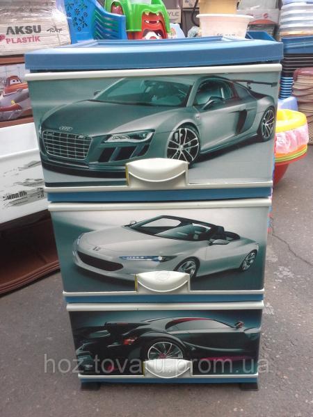 Комод пластиковый элиф Машины на 3 ящика