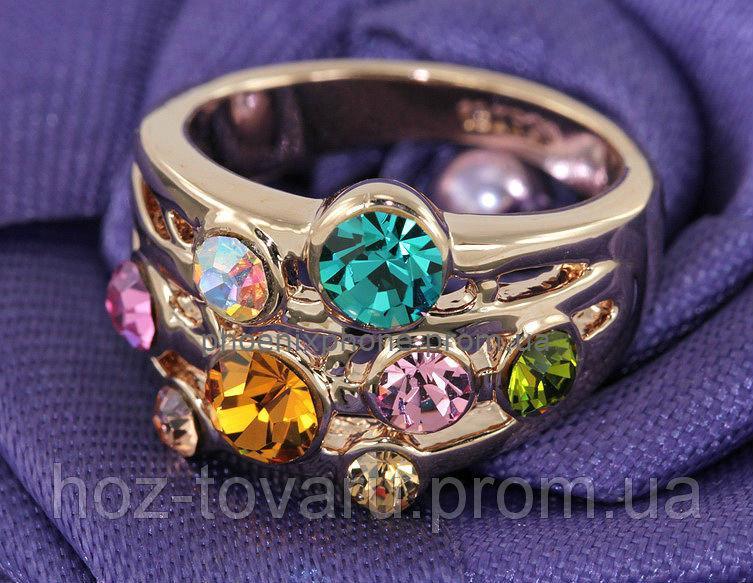 Яркое кольцо, с кристаллами Swarovski, покрытое слоями золота (102281)
