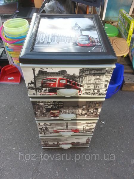 Комод пластиковый элиф Лондон 2 с верхней крышкой