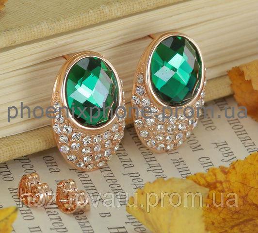 Милые серьги с зелеными кристаллами Swarovski, покрытые слоями золота (203281)