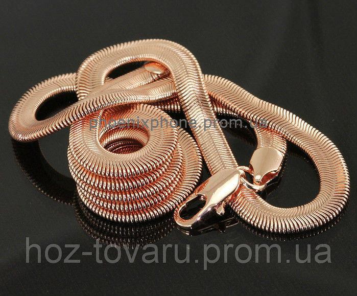 """Стильная цепь с плетением """"змея""""  покрытая золотом (40936)"""