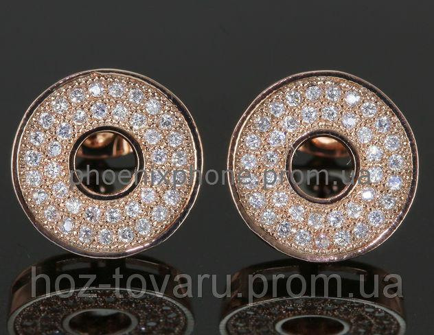 Милые серьги с кристаллами Swarovski, покрытые слоями золота (203440)