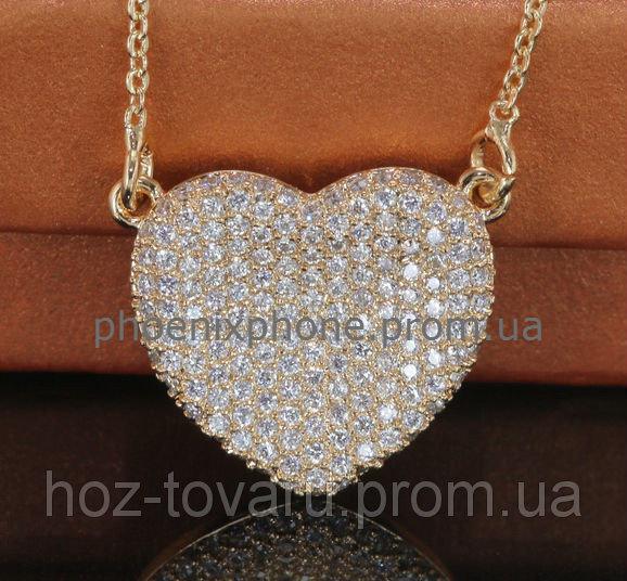 Красивый кулон - сердце с фианитами, покрытый золотом (341860)