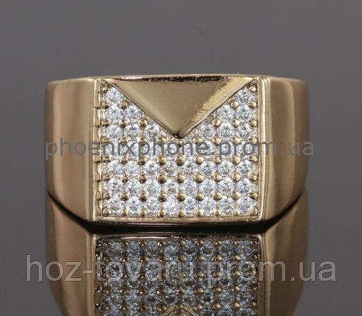 Видное кольцо - печатка с фианитами, покрытое золотом (127220) 19