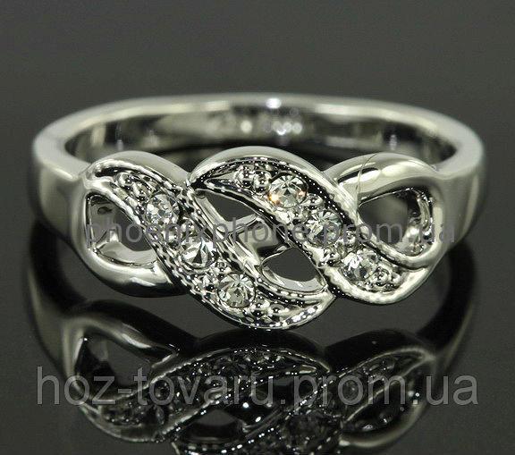 """Кольцо """"Синдерелла"""" с кристаллами Swarovski, покрытое платиной (108220) 16"""