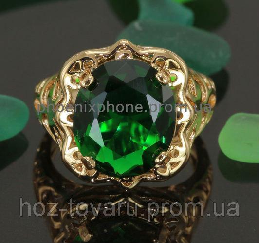 Яркое кольцо с фианитом, покрытое золотом (128343)