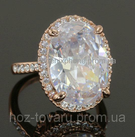 Яркое кольцо с кристаллами Swarovski, покрытое золотом (109050)