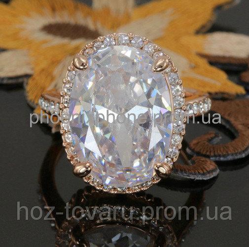 Яркое кольцо с кристаллами Swarovski, покрытое золотом (109050) 18