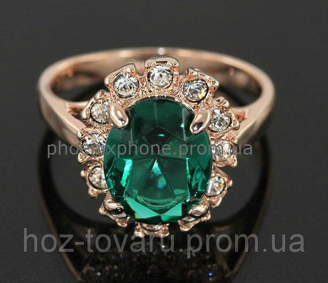 Яркое кольцо с кристаллами Swarovski, покрытое слоями золота (102312) 17.5